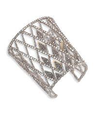 Alexis Bittar - Metallic Crystal-encrusted Spiked Lattice Cuff Bracelet - Lyst