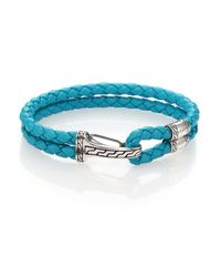 John Hardy - Blue Classic Chain Silver Hook Station Leather Bracelet - Lyst