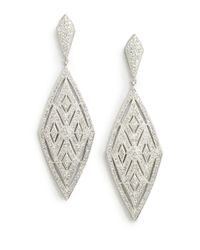 Adriana Orsini | Metallic Crystal Encrusted Diamond Drop Earrings | Lyst