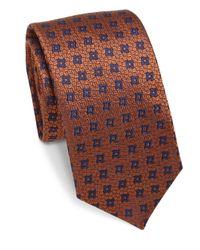 Saks Fifth Avenue - Blue Geometric Silk Tie for Men - Lyst
