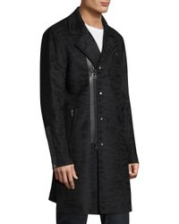 John Varvatos - Black Slim-fit Asymmetrical Coat for Men - Lyst