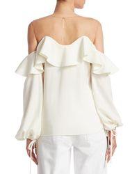 Oscar de la Renta - White Silk Illusion Blouse - Lyst