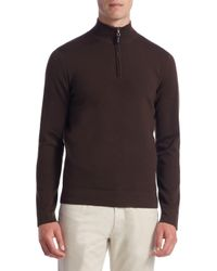Saks Fifth Avenue - Brown Collection Tech Merino Wool Quarter-zip Sweater for Men - Lyst