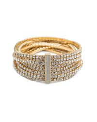 ABS By Allen Schwartz - Metallic Smoke & Mirrors Stretch Crystal Bracelet - Lyst