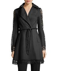 Elie Tahari - Black Kathy Lace Inset Trench Coat - Lyst