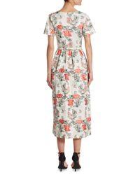 Oscar de la Renta   White Floral V-neck Dress   Lyst