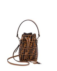 Fendi - Brown Mon Tresor Mini Logo Bucket Bag - Lyst