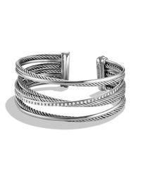 David Yurman - Metallic Crossover Cuff Bracelet With Diamonds - Lyst