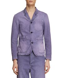 Burberry - Blue Slim-fit Striped Workwear Jacket for Men - Lyst