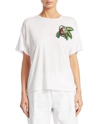 Oscar de la Renta - White Embroidered Monkey Tee - Lyst