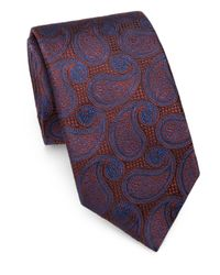 Saks Fifth Avenue - Orange Paisley Silk Tie for Men - Lyst