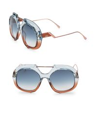 Fendi - Blue 55mm Square Aviator Sunglasses - Lyst