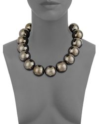 Oscar de la Renta - Metallic Bold Beaded Necklace - Lyst