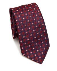 Saks Fifth Avenue - Red Medallion Pattern Silk Tie for Men - Lyst