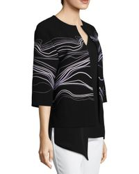 St. John - Black Double Weave Embroidered Jacket - Lyst