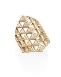 Melissa Kaye | Metallic Chloe Diamond & 18k Yellow Gold Shield Ring | Lyst