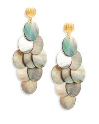 Nest - Gray Statement Grey Mother-of-pearl Chandelier Earrings - Lyst