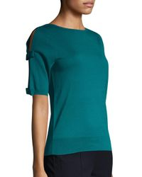 L.K.Bennett - Blue Bow Detail Silk & Cotton Top - Lyst