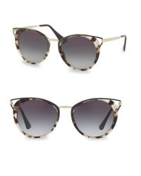 Prada - Gray Mirrored Round Sunglasses - Lyst