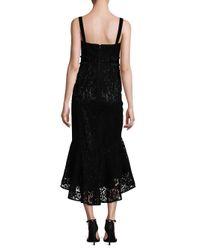 Laundry by Shelli Segal - Black Flocked Velvet Hi-lo Dress - Lyst