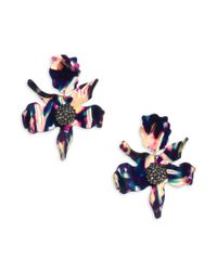 Lele Sadoughi - Blue Crystal Lily Clip-on Earrings - Lyst