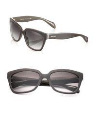 Prada - Brown Chunky 56mm Square Sunglasses - Lyst