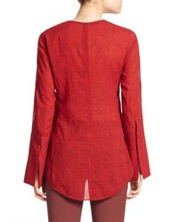 Akris - Blue Cheetah Print Wool Blouse - Lyst