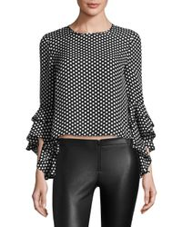 MILLY - Black Silk Gabby Blouse - Lyst
