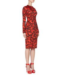Givenchy - Red Rose Jersey Dress - Lyst