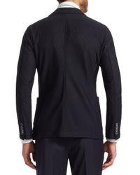 Giorgio Armani - Black Mesh Peak Lapel Blazer for Men - Lyst