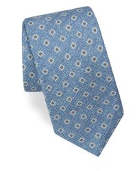Corneliani - Blue Square-print Silk Tie for Men - Lyst
