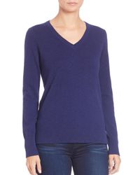 Saks Fifth Avenue | Blue Cashmere V-neck Sweater | Lyst