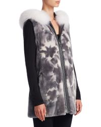 Saks Fifth Avenue - Gray Sheared Fur Vest - Lyst
