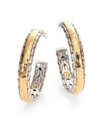 John Hardy | Metallic Palu 18k Yellow Gold & Sterling Silver Medium Hoop Earrings/2.5 | Lyst