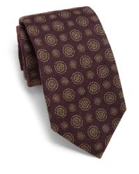 Isaia - Purple Circle Silk Tie for Men - Lyst