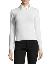 Valentino - White Love Embroidered Collar - Lyst