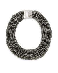 Saks Fifth Avenue - Draped Beaded Statement Necklace/black & Silvertone - Lyst