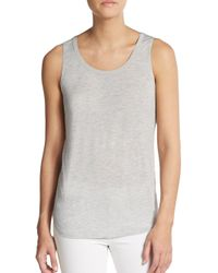 Vince - Gray Satin-banded Scoopneck Tank Top - Lyst