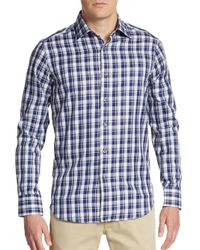 Saks Fifth Avenue | Blue Regular-fit Plaid Cotton Sportshirt for Men | Lyst