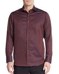Saks Fifth Avenue | Purple Regular-fit Contrast-cuff Cotton Sportshirt for Men | Lyst