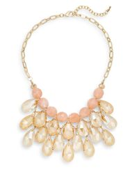 Cara | Pink Beaded Briolette Bib Necklace | Lyst
