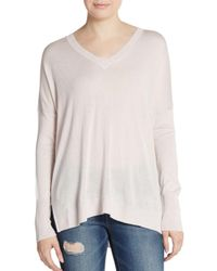 VINCE | Purple Silk & Cashmere Double V-neck Sweater | Lyst