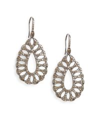 Bavna | Metallic 3.86 Tcw Pavé Champagne Diamond & Sterling Silver Cutout Teardrop Earrings | Lyst
