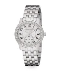 Saks Fifth Avenue | Metallic Mother-of-pearl, Pavà Crystal & Stainless Steel Watch | Lyst