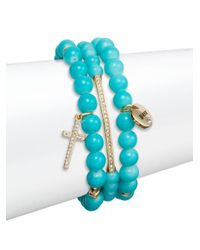 Saks Fifth Avenue | Blue Pavé Blessed Charm Beaded Bracelets/set Of 3 | Lyst