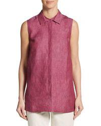 Lafayette 148 New York - Pink Senara Linen Blouse - Lyst