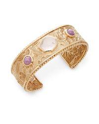 Stephen Dweck | Metallic Rose Quartz, Phosphosiderite & Bronze Carved Cuff Bracelet | Lyst
