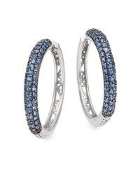 Effy - Metallic Sapphire & 14k White Gold Hoop Earrings - Lyst