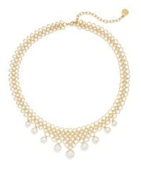 Majorica | Metallic 6mm-10mm White Round Pearl Woven Link Necklace | Lyst