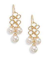 Majorica | Metallic 7mm-8mm White Pearl Mesh Drop Earrings | Lyst